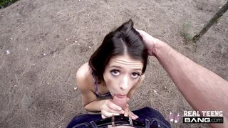Finest: Izzy Bell - WIld juvenile flashes and sucks cock in public